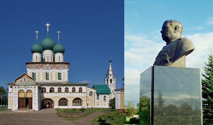 Воскресенский собор и Бюст маршала Федора Ивановича Толбухина правый берег Тутаева