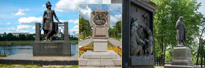 Памятник Пушкину, Крылову и Поклонный крест в Твери