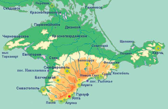 Расположение Ялты на карте Крыма