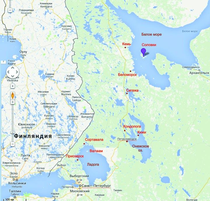 Петрозаводск на карте