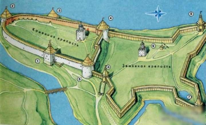 Карта крепости Старой Ладоги