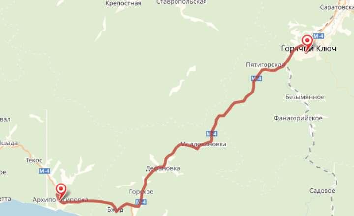 Карта окрестностей Архипо-Осиповки