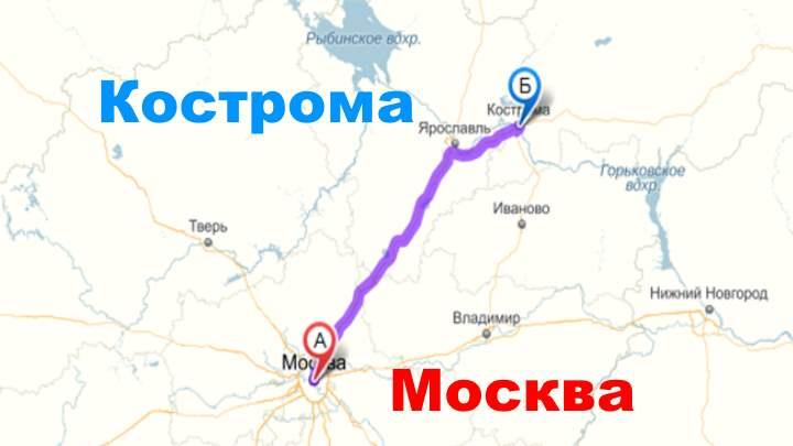 Расстояние до Костромы