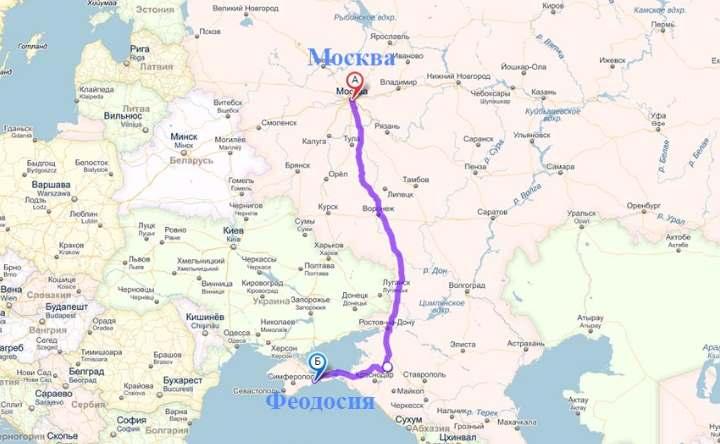 Карта Москва Феодосия