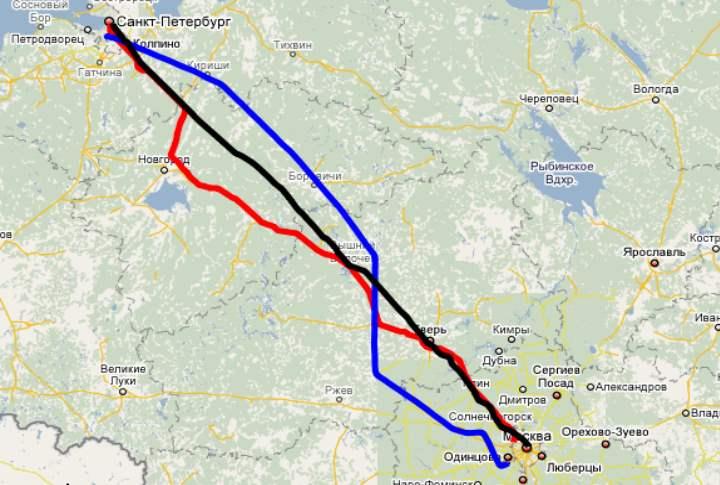 Питер-Москва на карте