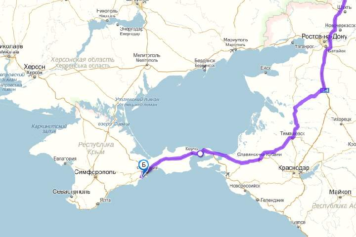 Карта в Коктебель через Краснодар