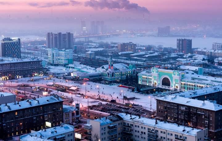 Восход в городе Новосибирске