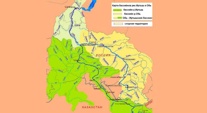 Карта местности реки Обь