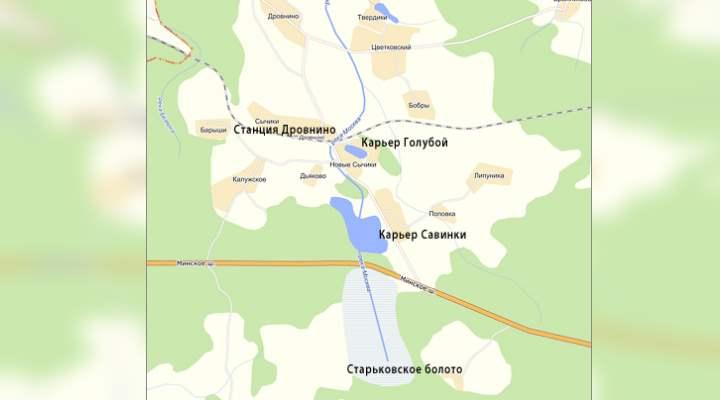 Карта начала реки Москва